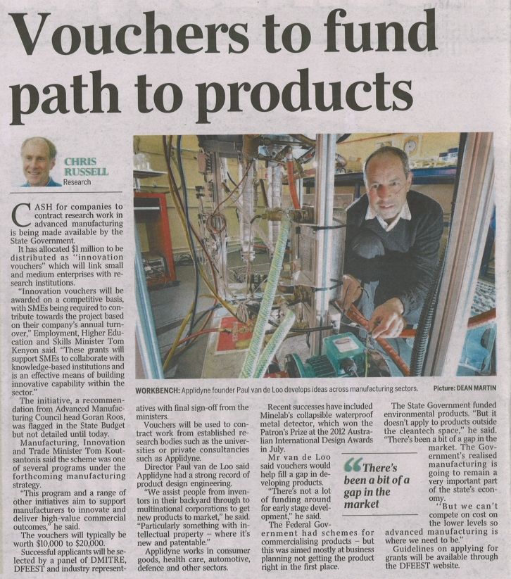 Applidyne features in The Advertiser article