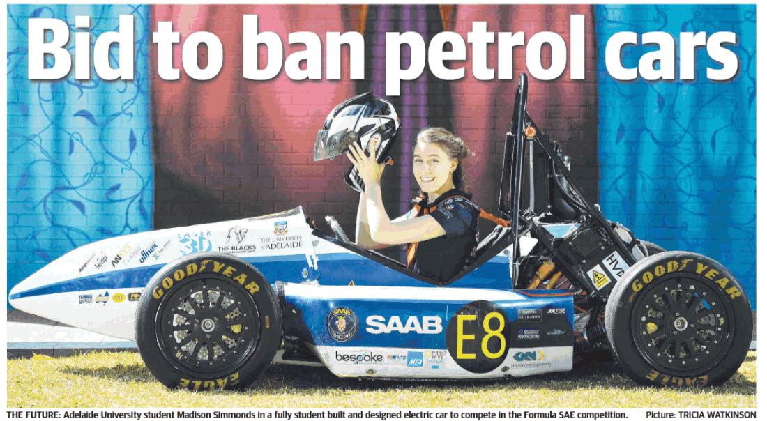 Adelaide Uni Motorsport Team FSAE featured in 'The Advertiser'